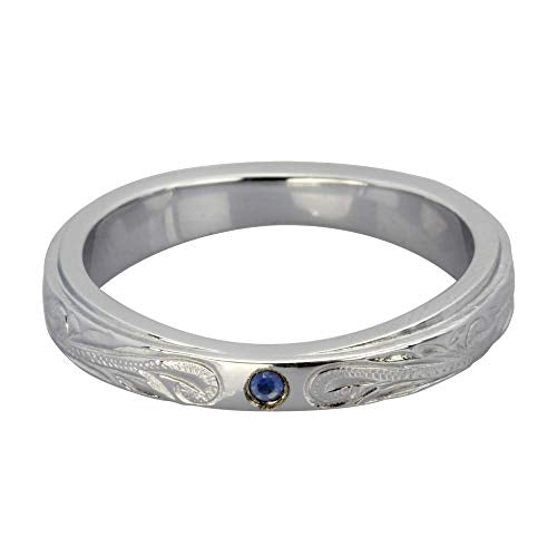 Austaras Stainless Steel Ring - Sterling Silver Plated with Sapphire