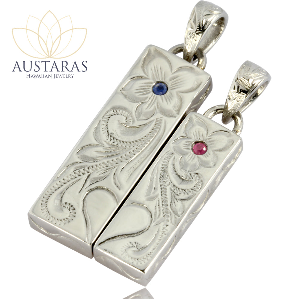 Austaras Ruby or Sapphire Necklace - Half Heart Engraved Pendant