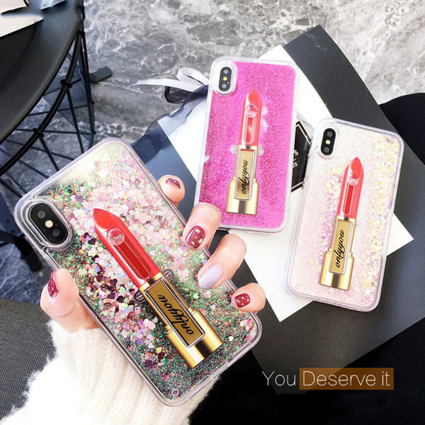 Woman Style Lipstick Quicksand Case For iPhone 6 6s 7 8 Plus Liquid Shiny | FreeTheGadgets.com