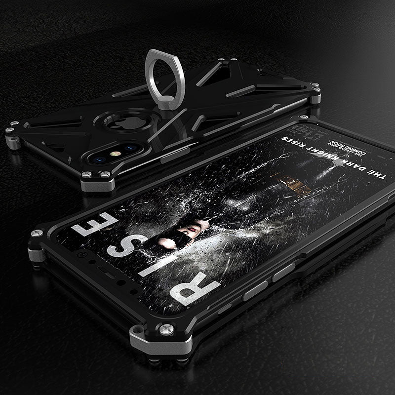 Case For Apple iphone x 7 8 6 6s Plus Luxury Doom armor Dirt Shock Anti-knock Metal Aluminum phone bags case With Finger Ring | FreeTheGadgets.com