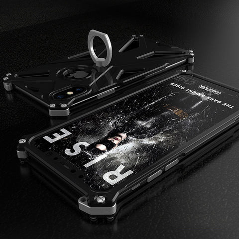 Case For Apple iphone x 7 8 6 6s Plus Luxury Doom armor Dirt Shock Anti-knock Metal Aluminum phone bags case With Finger Ring - FreeTheGadgets