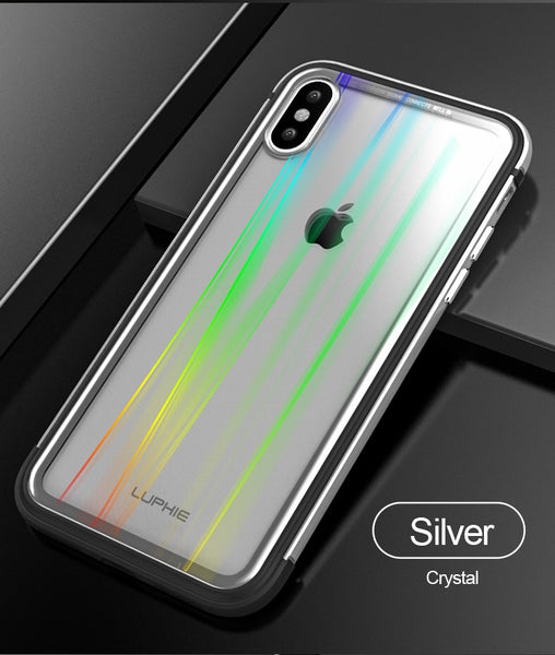 New Ultra-thin Metal Case light weight for iPhone 7 8 Plus X XR XS Tempered Glass Back Cover | FreeTheGadgets.com
