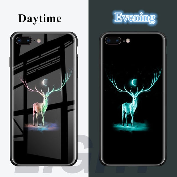 New Luminous Tempered Glass Case Flamingo Tiger Back Cover Silicone Bumper For iPhone 7 6S 8 6 Plus Case | FreeTheGadgets.com
