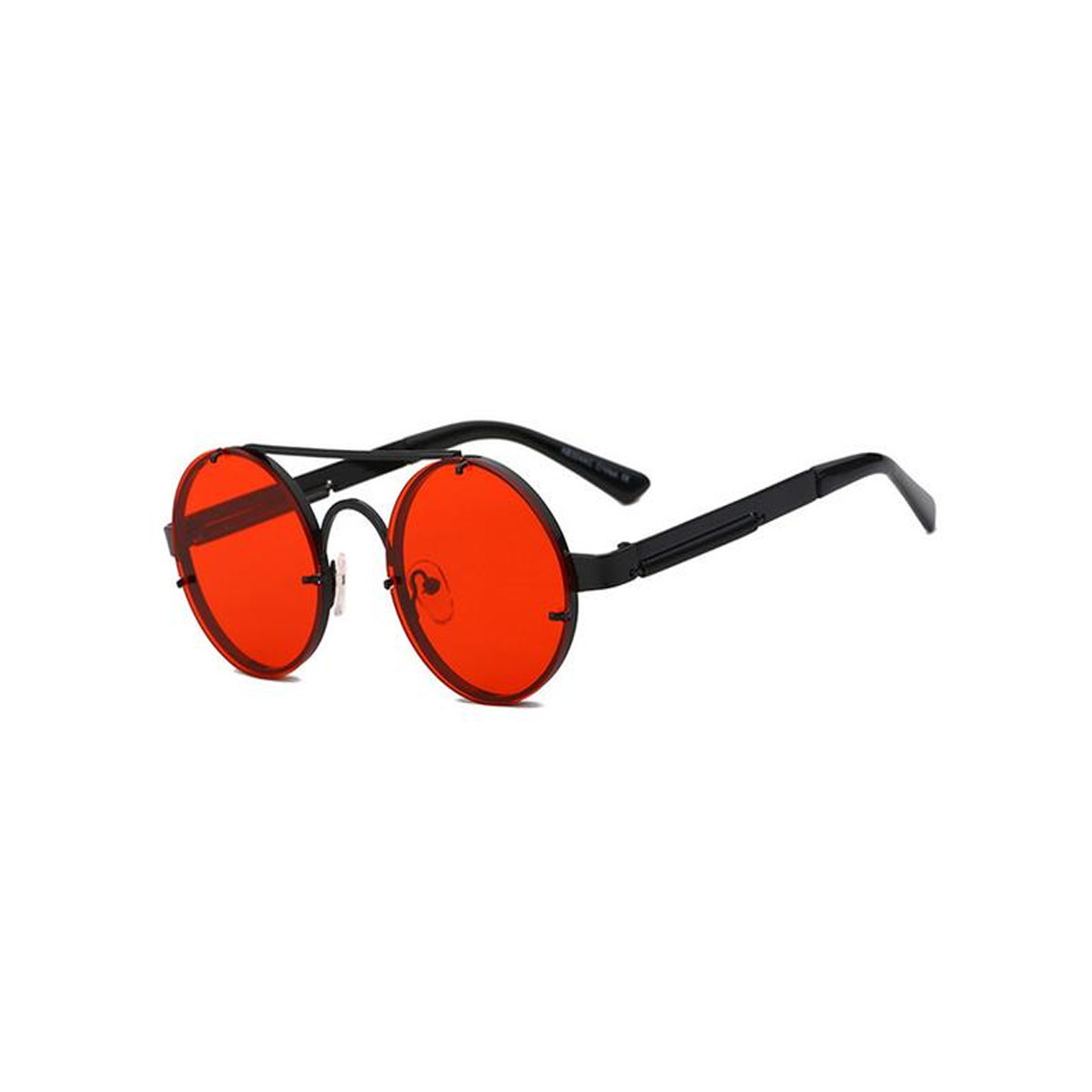 4a37ff5f58b red lens sunglasses men round vintage 2018 steampunk sun glasses for women  gold silver metal flat