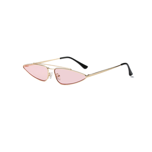 small triangle sunglasses women brand designer metal pink gold black cat eye sun glasses for women gift uv400
