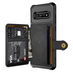 For Samsung Galaxy S10 Plus S10e Note 9 Credit Card Case PU Leather Flip Wallet Photo Holder Hard Back Cover - mobilecare17