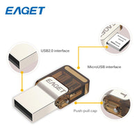 EAGET V9 Mini Pen Drive 16GB OTG USB 2.0 Memory USB Stick 8GB Pendrive Micro USB Flash Drive Disk 32GB For Smart Phone Tablet PC - mobilecare17