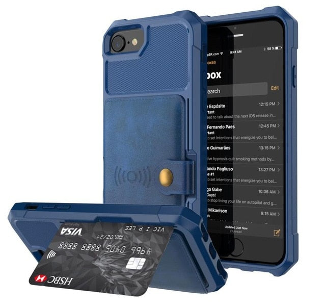 PU Leather Wallet Car magnetic Case for iPhone X XS XR XS Max 6 6S 7 8 Plus Card Holder Wallet Flip Cover - mobilecare17