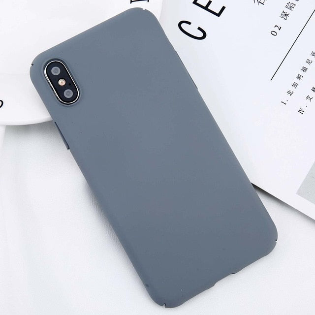 USLION For iPhone X Simple Plain Phone Case Slim Frosted Hard PC Back Cover For iPhoneX 8 7 6 6S Plus 5 5S SE Cases Coque Capa - mobilecare17
