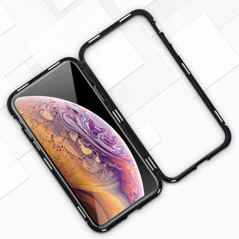 Luxury Magnetic Case For iPhone XR XS Max X iPhone 6 S 6S 5 5S 5SE 7 8 Plus 6Plus 7Plus 8Plus Mobile Phone tempered glass Cover