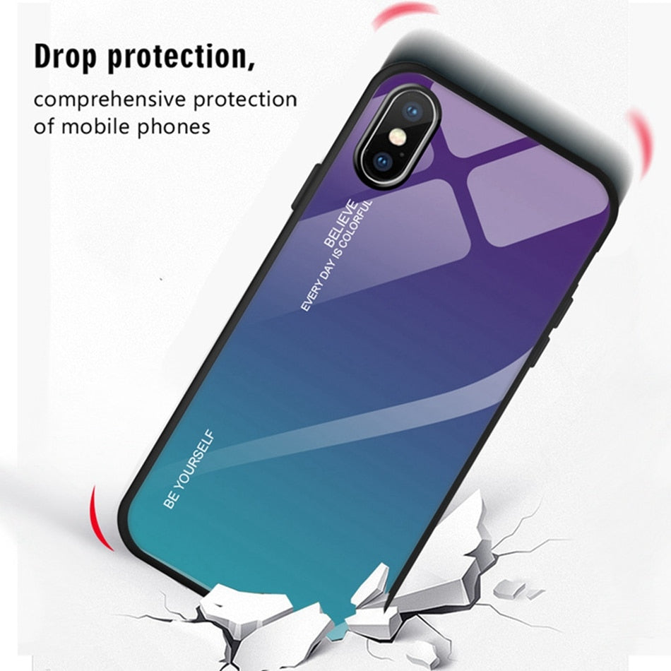 Tempered Glass Case For iPhone 8 7 6s 6 Plus Gradient Color Cover For iPhone XR XS 11 Pro Max X Phone Cases Coque Capa