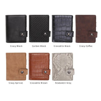 Credit Card Holder Men and Women Aluminum Alloy Card Case PU Leather Fashion Card Wallets ID Card Holder Purse - mobilecare17