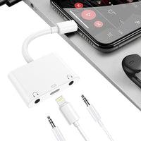 Audio Charger Adapter For Apple Lightning to 3.5mm Double Headphone Jack Adapter Couples Splitter - mobilecare17