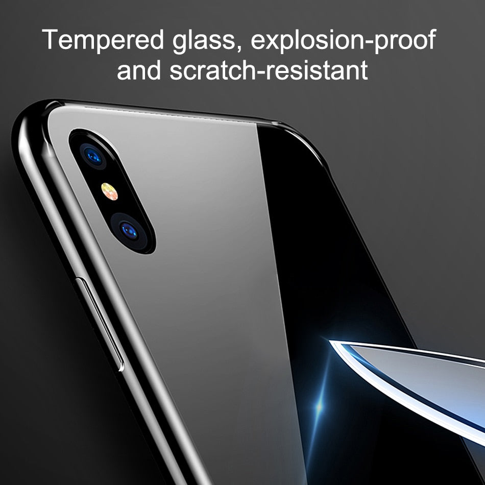 For iphone XS Max XS XR X 8 8 Plus 7 7 Plus Case Tempered Glass Cover Soft TPU Edge Case - mobilecare17