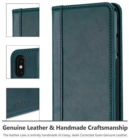 Genuine Leather Case for iPhone Xs Max, Vintage Wallet Folding Flip Case with Kickstand Card Holder Protective Cover