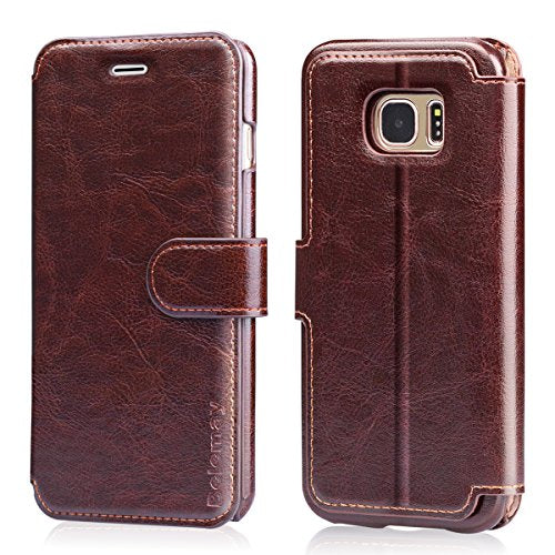 100% Genuine Cowhide Leather Case Cover For Samsung Galaxy S7 S8 S9 - mobilecare17