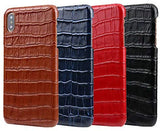 Genuine Leather Luxury Case for iPhone X/Xs, iPhone Xs Max, and iPhone XR, Hand-Made with Premium Calf Leather (Alligator/Crocodile Skin Texture)