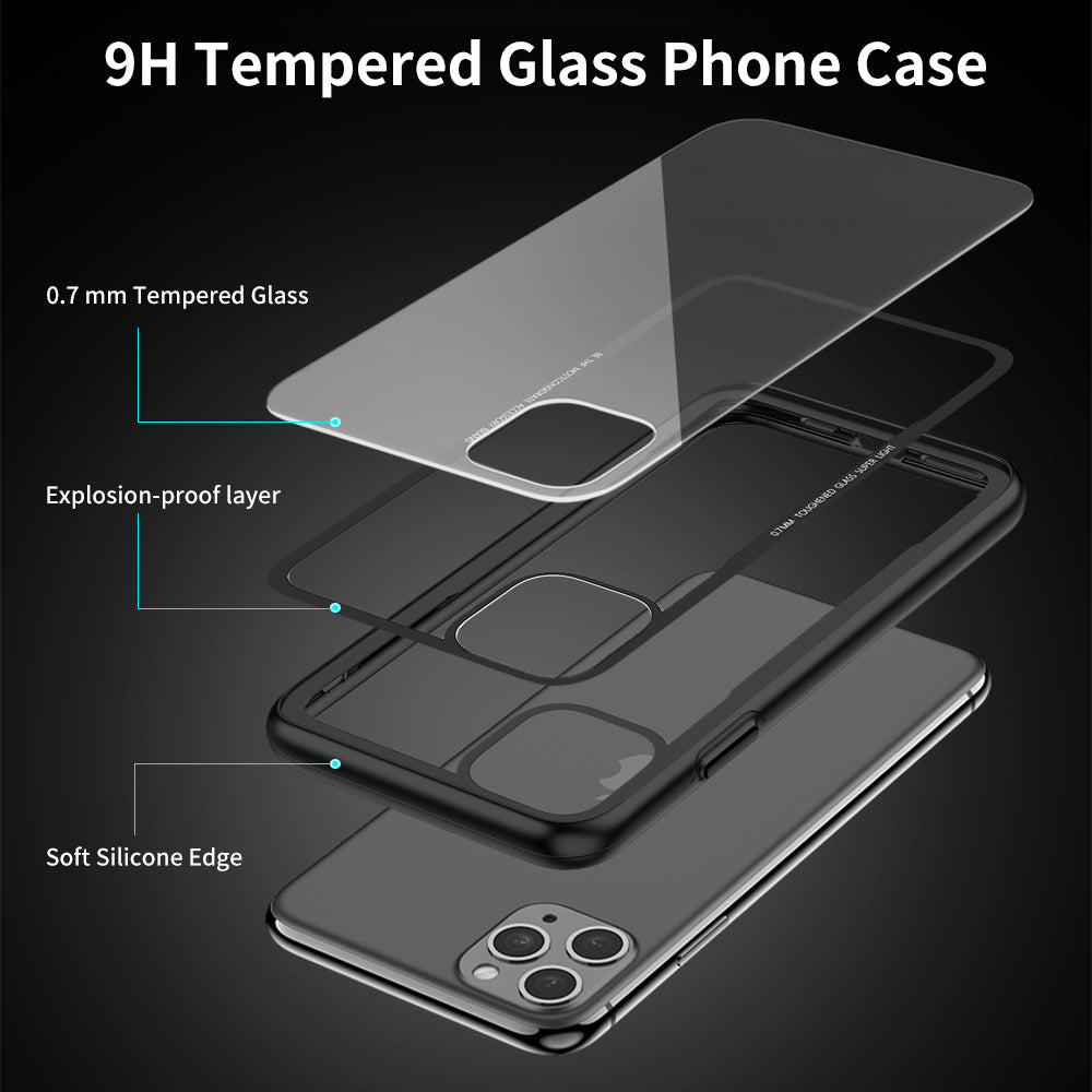 For iPhone 11 Pro Max X XS Transparent Protective Tempered Glass Case