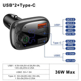 Baseus Quick Charge 4.0 Car Charger for Phone FM Transmitter Bluetooth Car Kit Audio MP3 Player