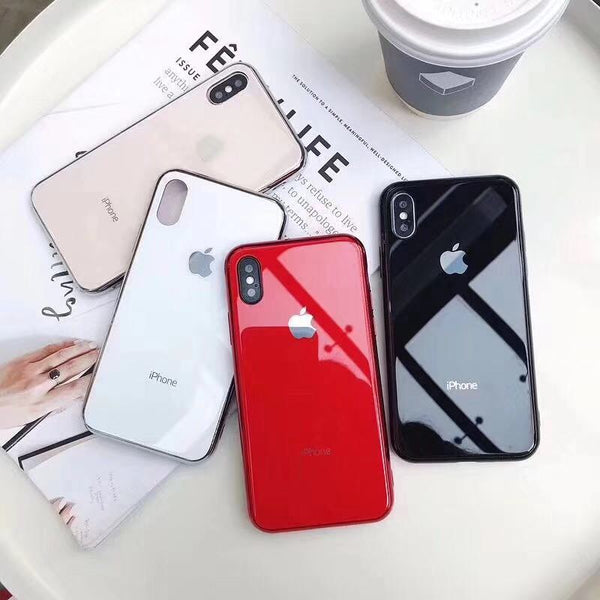 Tempered Glass Phone Case For iPhone X 10 7 8  XR XS Max Case Soft TPU Protective Back Cover Cases