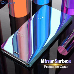 Luxury Mirror Smart Clear View Phone Case For Samsung Galaxy S8 S9 Plus S6 Note 8 9 S7 Edge Flip Cover For Samsung A3 A5 A7 2017 - mobilecare17