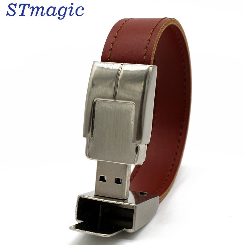 USB flash drive 64gb Leather metal keyring Pendrive creativo 32gb 16gb 8gb 4gb usb2.0 Wrist band - mobilecare17