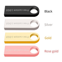 Usb flash drive 32 GB 3.0 metal pen drive 64GB pendrive 16GB 8GB 4GB 128GB silver key flash drive waterproof custom  NO logo