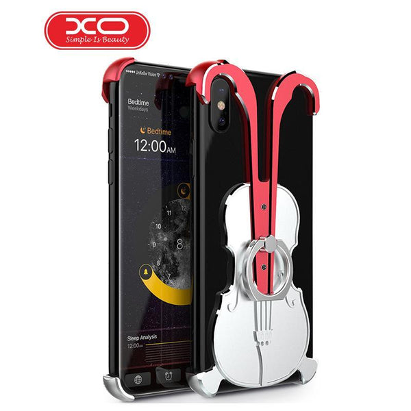 Violin Aluminum Alloy Phone border Case For iPhone 7plus Model Metal Phone Case With 360 Finger Ring Stand X Phone 8plus case