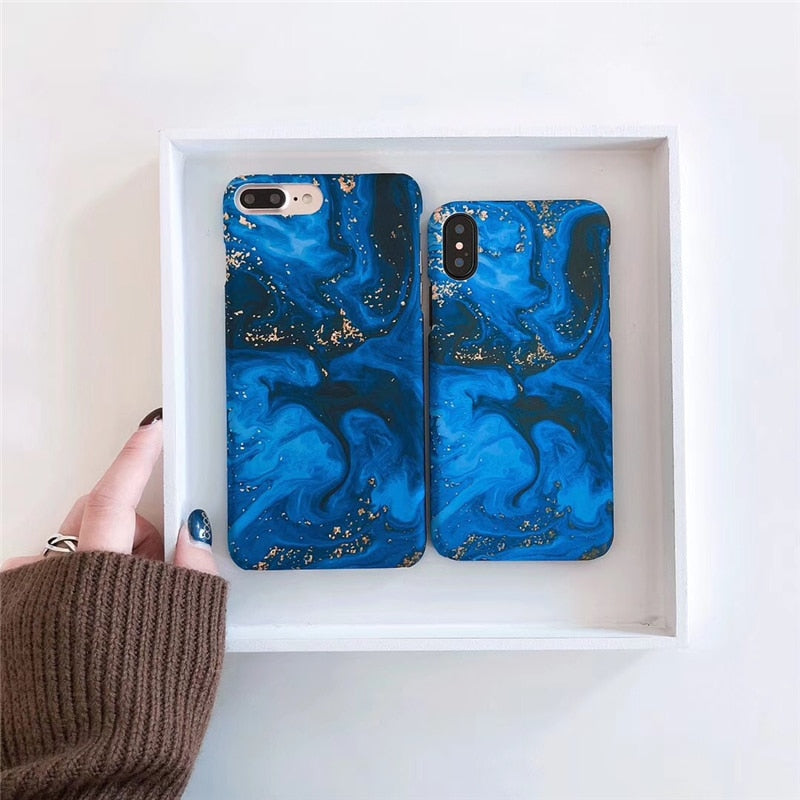 Abstract blue marble phone Cases For iphone x 6 6s 6plus 7 7Plus 8 8plus Scrub hard PC case back cover for iphone 7 case - mobilecare17