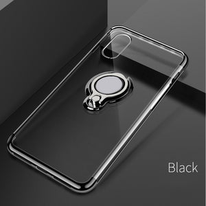 Ultra Thin Transparent Phone Case Magnetic Cases Finger Ring Holder Cover Coque - mobilecare17