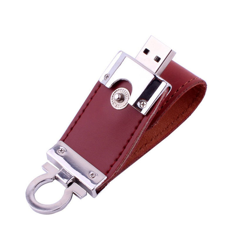 Metal keychain pendrive 8GB 16GB 32GB 64GB Leather USB Flash Drive Pen Drive Pendriver flash Memory Card memory stick - mobilecare17