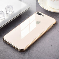 Tempered Glass Luxury Phone Case Cover For iPhone 7 6 S 8 Plus X XR XS Max 8plus 7plus Black Gold Red White Carcasas Coque Funda