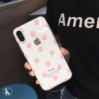 Cute Polka Dots clear TPU phone Cases For iphone XS Max X XR XS soft TPU Case for iphone 6 6s 7 8 plus phone back cover