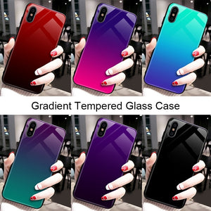 Gradient Tempered Glass Case For iPhone X 7 6 Xs Max Xr Luxury Silicone Phone Case For iPhone 7 8 Plus Case For iPhone X 7 Coque - mobilecare17