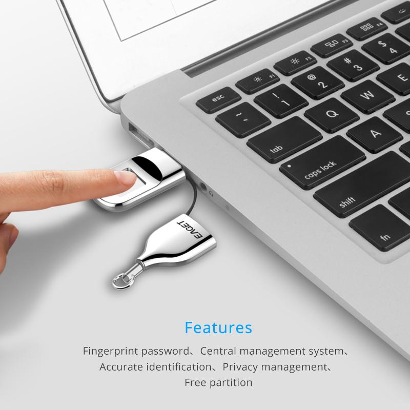 EAGET USB Flash Drive 32GB 64GB Pendrive USB 2.0 Recognition Fingerprint Encryption Flash Disk Memory - mobilecare17