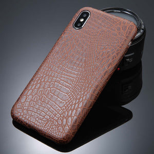 For iPhone 5 5s SE 6 6s 7 8 Plus X Case Crocodile Texture Phone Cases PU Leather Back Cover Coque For iPhone XS XR XS Max - mobilecare17