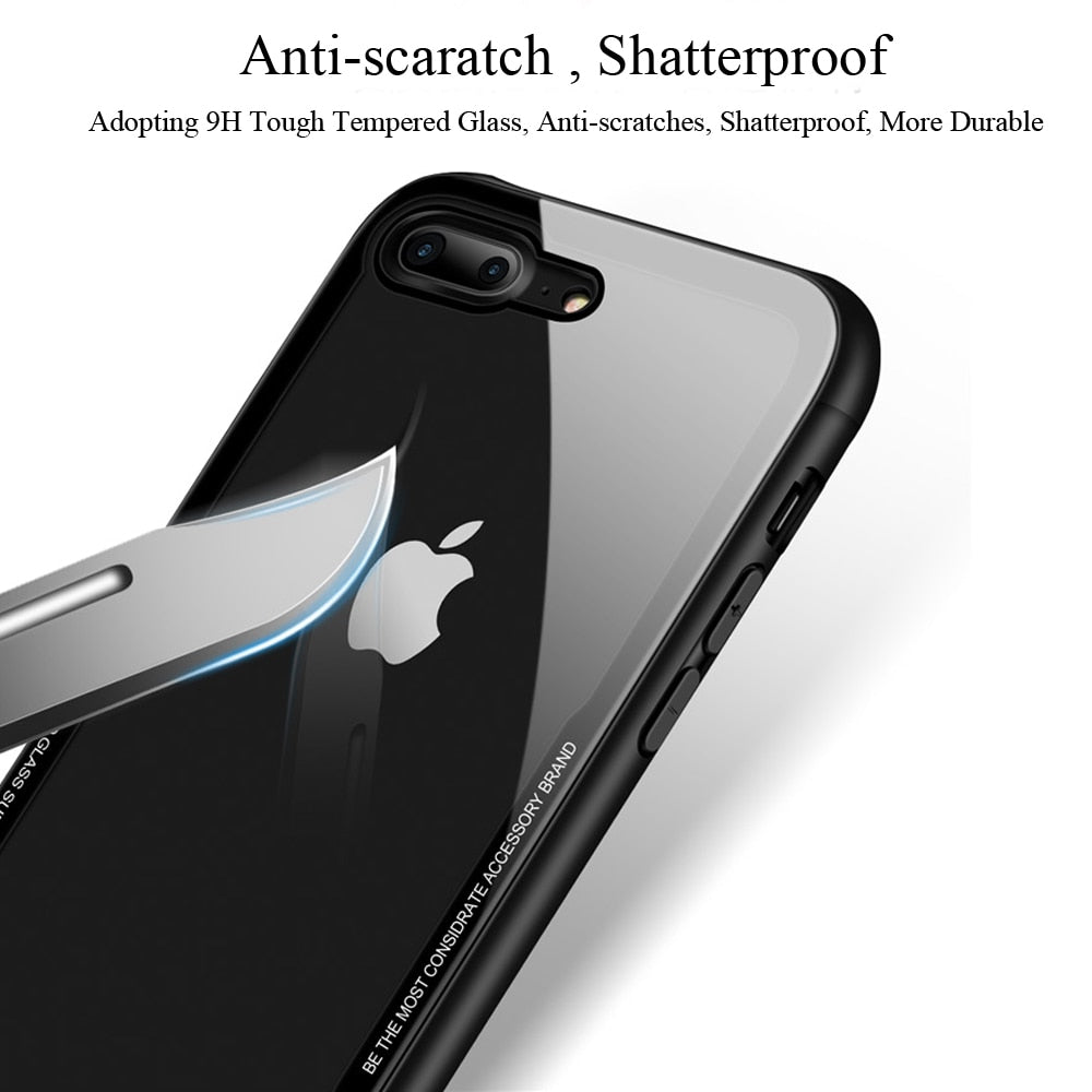 Tempered Glass Phone Case for iPhone X 10 , 0.7MM Protective Mobile Phone Cover Cases for iPhone 7 8 Plus 6 6s XS Max XR - mobilecare17