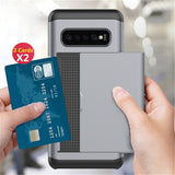 For Samsung Galaxy S20 S10 S9 S8 Slide Armor Wallet Card Slots Cover