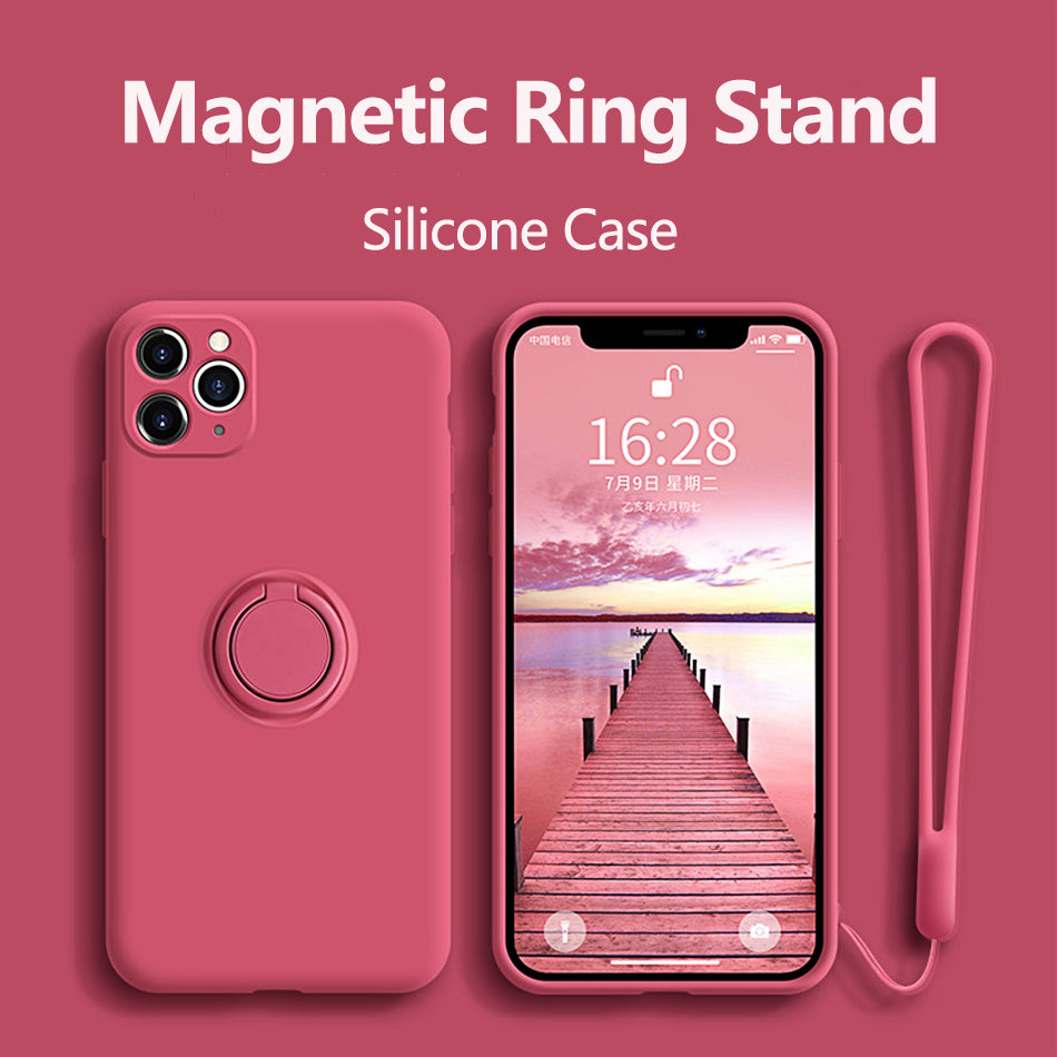 Silicone Case With Holder For iPhone 11 Pro XR Max XS Max 7 8 SE 2020