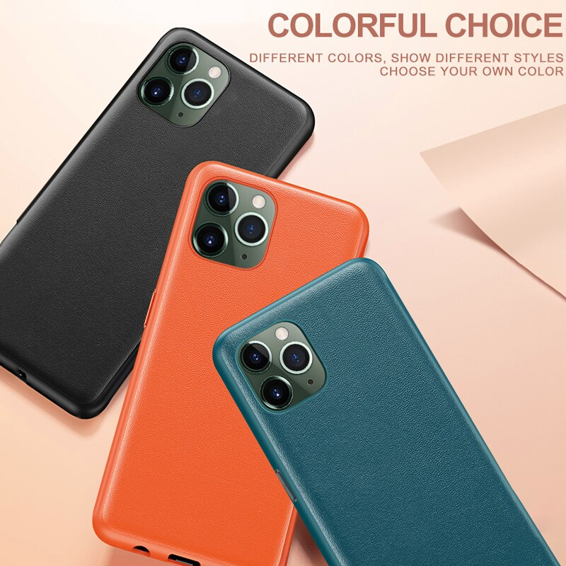 Luxury Vintage Leather Back Cover for iPhone 11 Pro Max Case