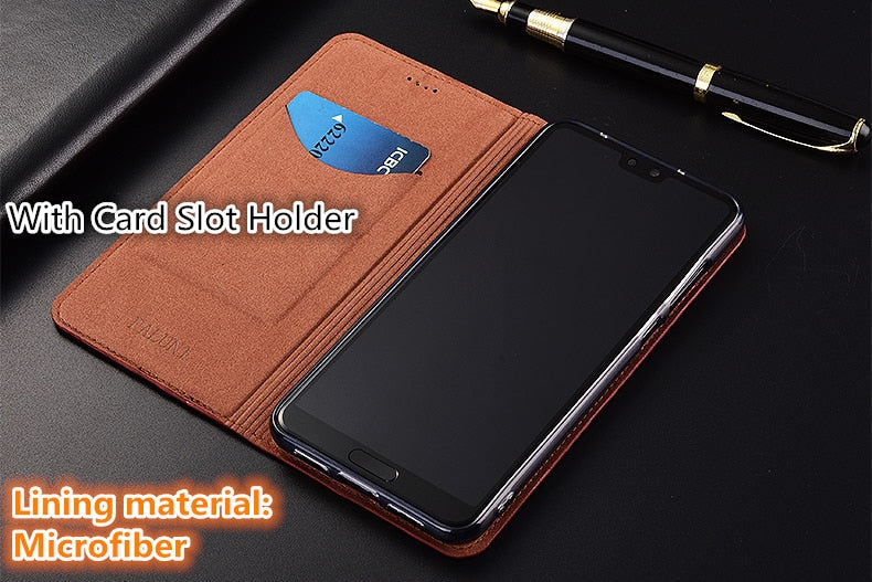 Lizard pattern natural leather case card slot holder for Xiaomi Redmi Note 8 Pro