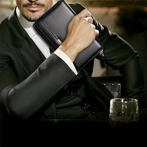 Leather Men Wallets Cell Phone Purse Zipper Large Card Holders