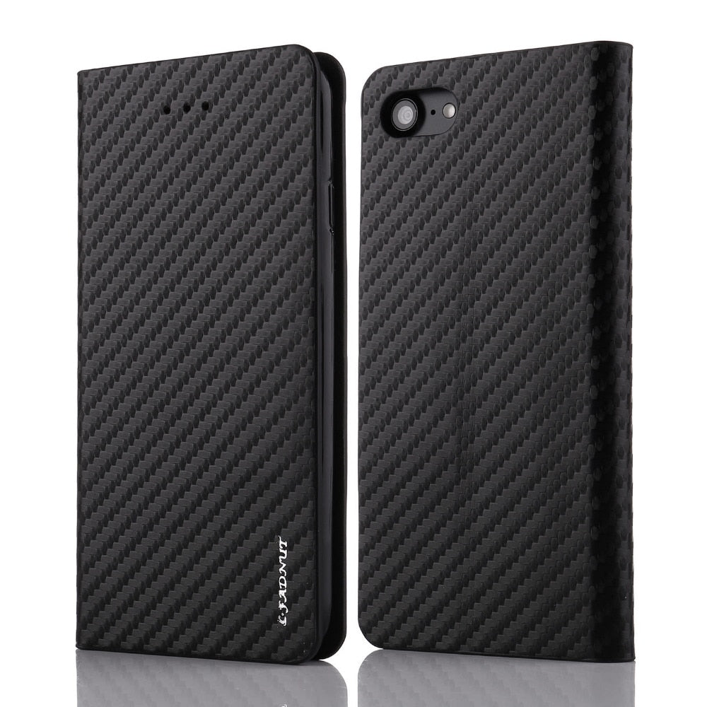 Carbon Fiber Leather Case For iPhone 7 Plus 8 6S 6 5 5S SE Vintage Card Slot Flip Wallet Cover For iPhone Xr X Xs Max