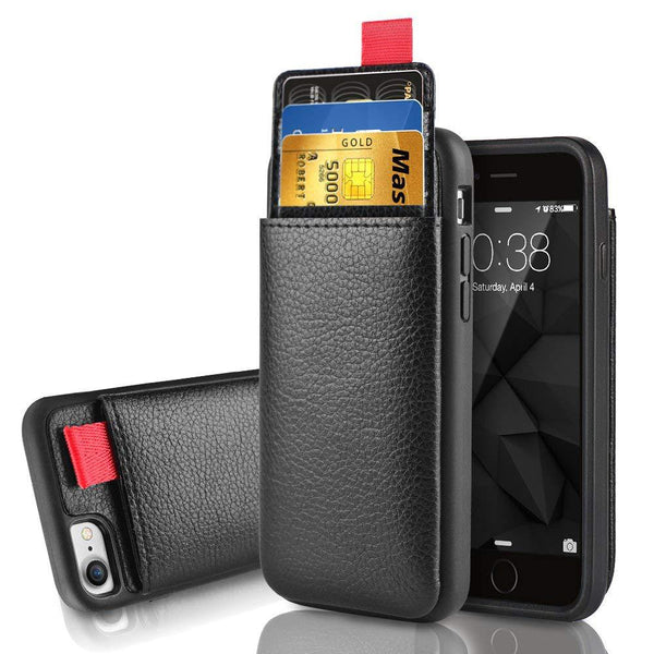 Leather Wallet Case Card Slot Pull Pouch Cover for iPhone 7 6 6S 8 Plus  XS Max XR XS X and  Samsung S8 S9 Plus Note 8 9