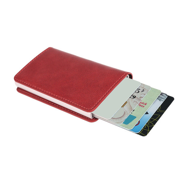Metal Men Card Holder RFID Aluminium Alloy Credit Card Holder PU Leather Wallet Antitheft Men Wallets Automatic Pop Up Card Case - mobilecare17