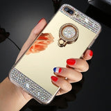 Diamond Case for iPhone X XR XS 11 Pro Max 7 8 Plus Mirror Silicone Cover Finger Ring Holder