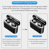 True Wireless Earbuds Bluetooth Earphones Mini TWS Waterproof Headfrees with 2200mAh Power Bank For All Phone