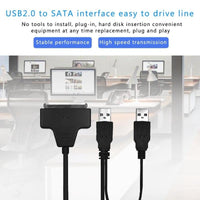 USB 2.0 to SATA Converter Adapter Cable For 2.5/3.5 SATA HDD Hard Drive Disk - mobilecare17