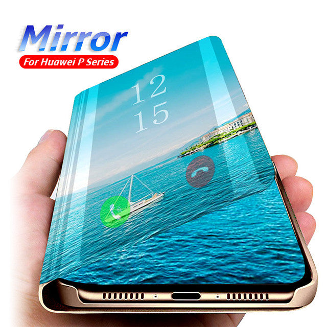 Mirror View Smart Flip Case For Huawei P40 Pro P40 Lite P Smart 2019 P Smart Z