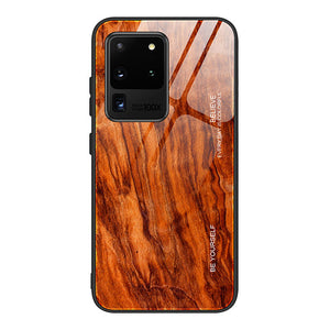 Luxury Wood Grain Phone Case For Samsung Galaxy S20 Ultra S20 Plus S10 Plus S10e Note 10 Pro S9 Plus Soft TPU Edge Slim Tempered Glass Cover Case